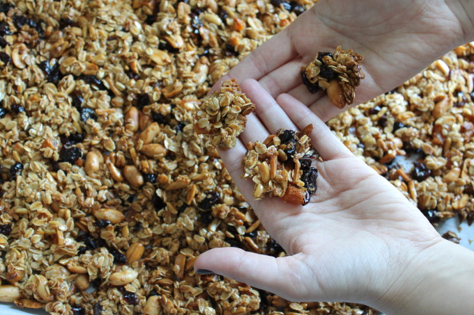 perfect clumpy granola dried fruit nuts clumps hands_ glitterinc.com