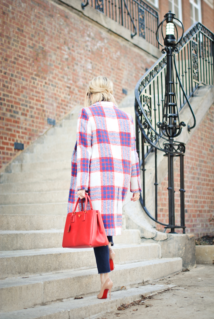 zara plaid statement coat prada bag christian louboutin streetstyle