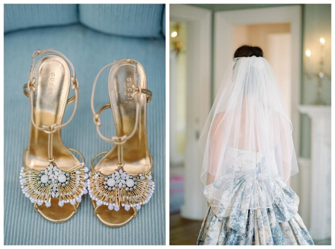 Charleston Winter Wedding - blue dress - gold shoes