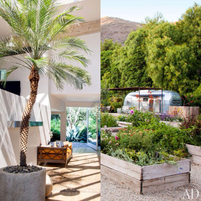Patrick Dempsey Rustic Malibu Beach home house airstream garden entryway