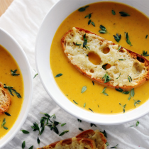 Winter Soups - Pumpkin & White Bean Bisque with Manchego Toasts