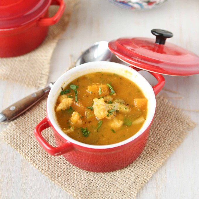 Winter Vegetable Soup Recipe with Butternut Squash & Cauliflower /via ...