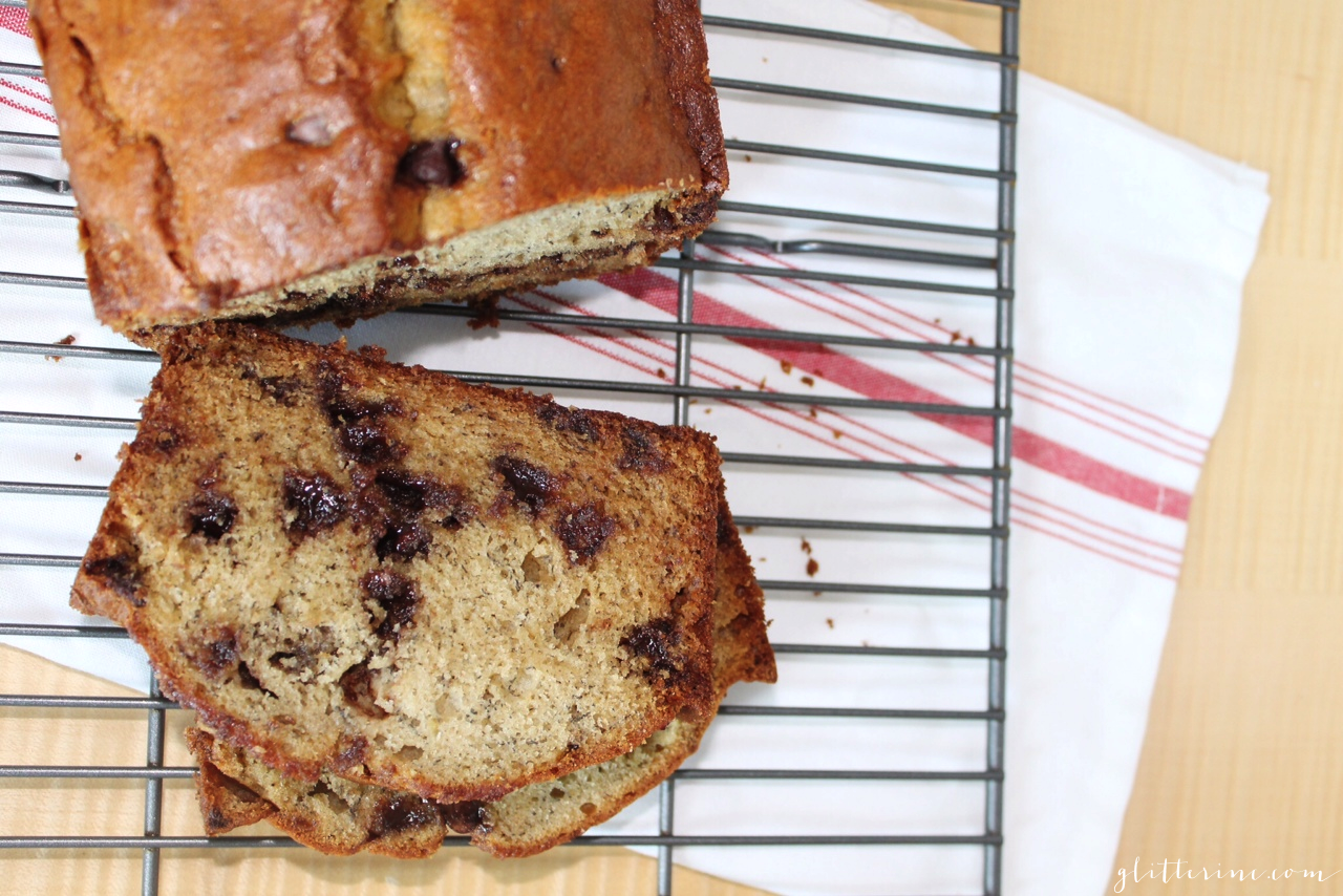Homemade Milk Chocolate Chip Banana Bread recipe 3- glitterinc.com