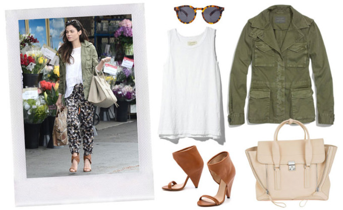 Jenna-Dewan-Tatum-Peter-Som-for-Kohls-DesigNation-Sunglasses-Army-Coat-IRO-Sandals---glitterinc.com