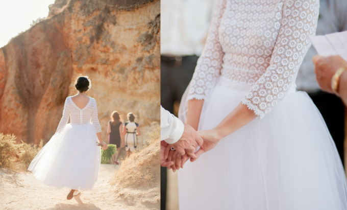 Lace Sleeve Tutu Wedding Dress - Desert