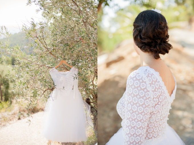 Lace Sleeved Wedding Tulle Tutu Dress - olive tree