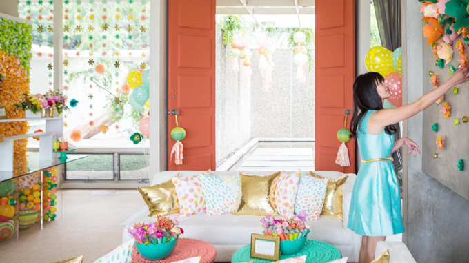 Oh Joy for Target tablescape Spring - Sofa Gold Pillows