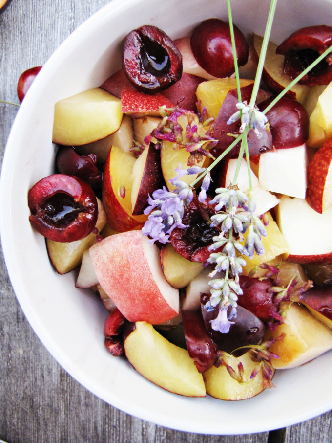 cherries and peaches fruit salad with lemon and lavender