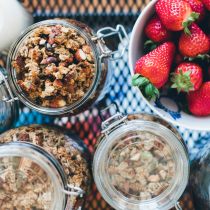 granola weekend breakfast strawberries