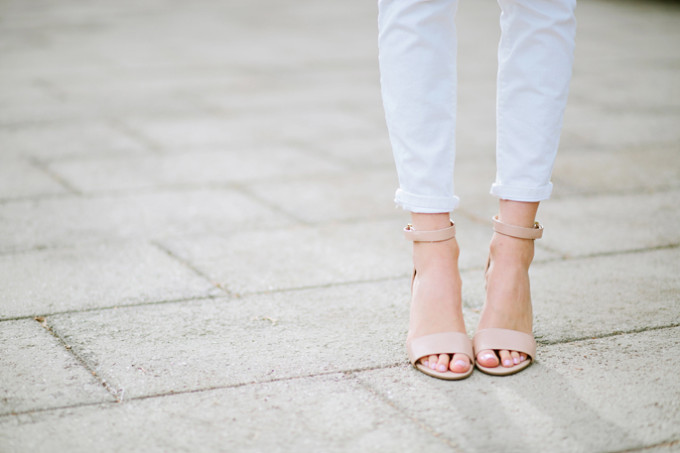Heather of Pink Peonies in the Izzy Sandals