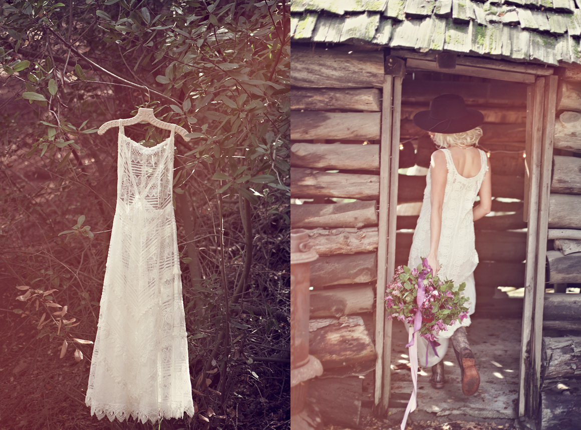Free People Wedding I Do Shoot - Jen's Pirates Booty Infinity Dress Lace Maxi + hat + boots + bouquet