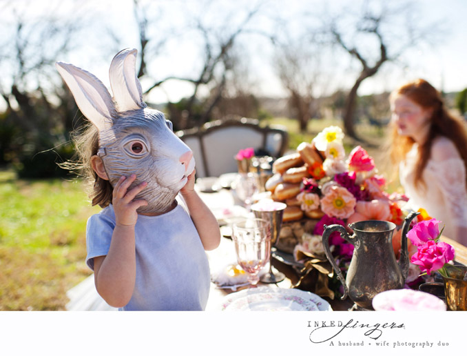 Queen of Hearts Styled Tea Party Photo Shoot - bunny mask