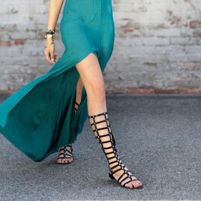 Knee High Gladiator Flat Sandal Boots