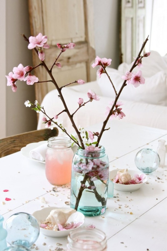 Spring Interiors Decor Cherry Blossoms Flowers Jar