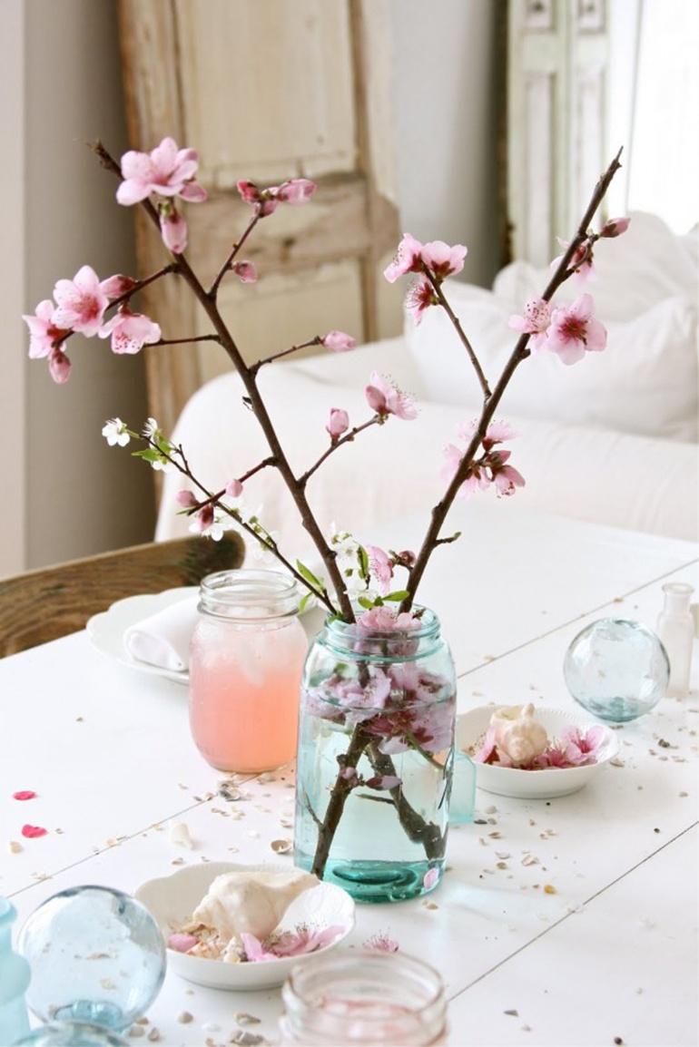 Spring Interiors Decor Cherry Blossoms Flowers Jar