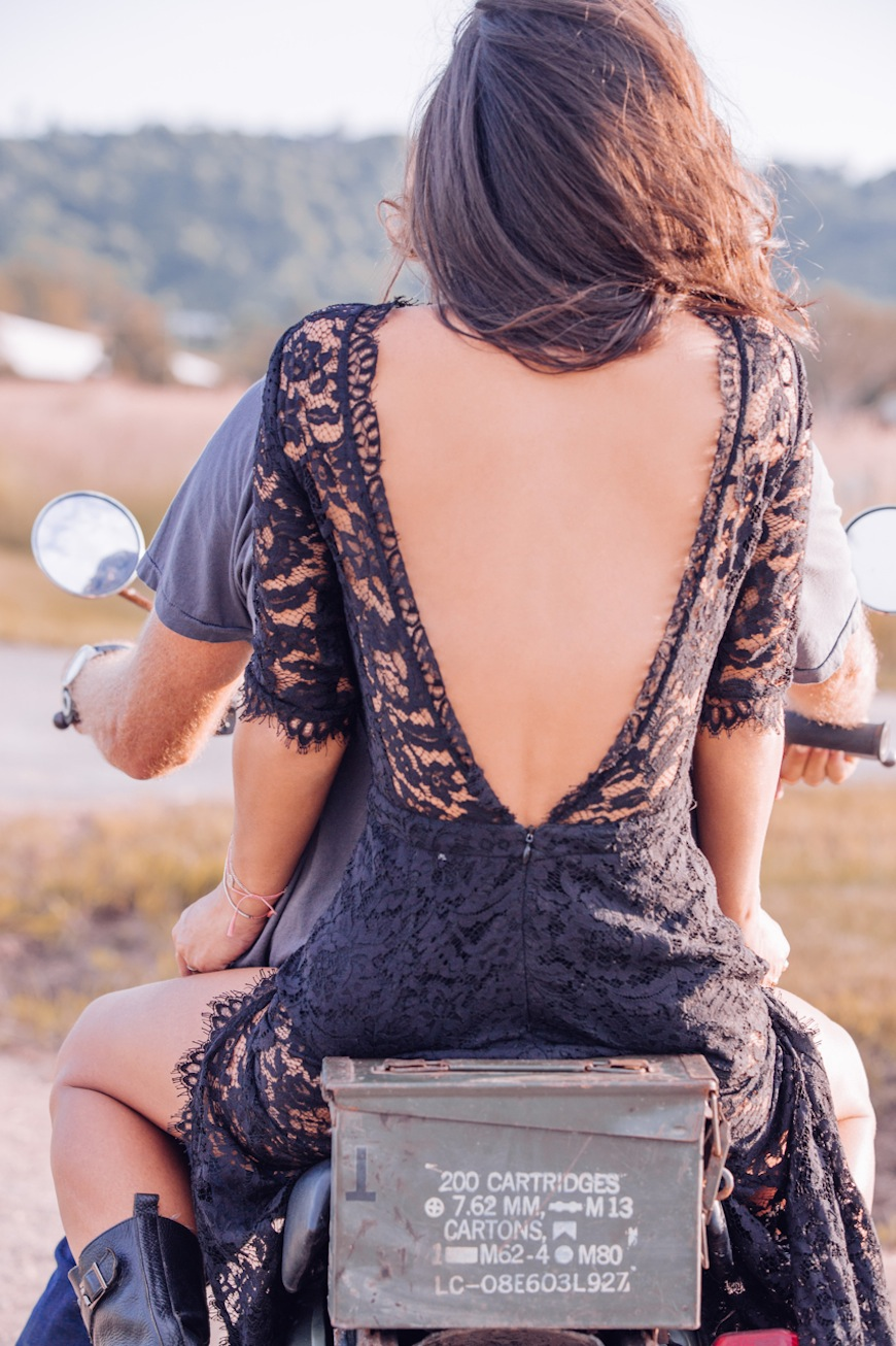 Steele Family tulle travel gypsy motorcycle black lace dress