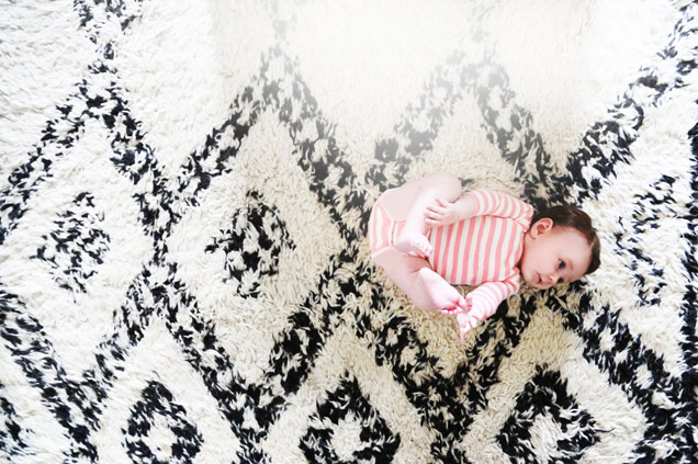 Violet Gaynor - The Glow - baby in J.Crew - Moroccan Rug