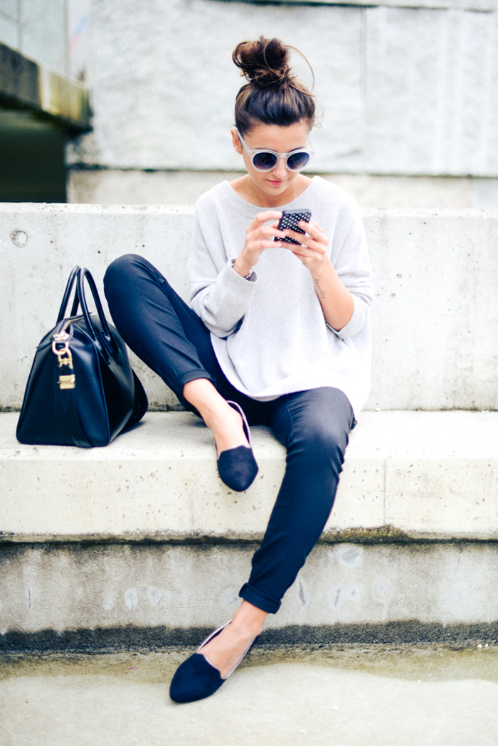 girl on steps iphone purse loafers