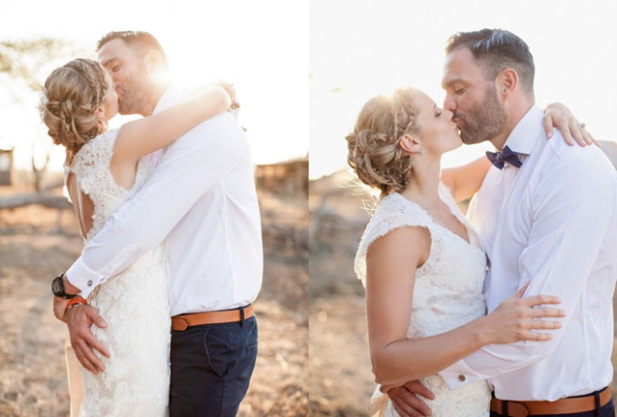 wedding-bride-intricate-braided-updo-couple-kissing