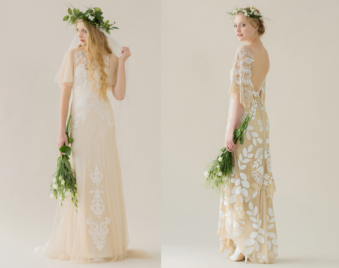 Rue de Seine 2014 'Young Love' Collection Lace Applique Wedding Dress + floral crown - glitterinc.com