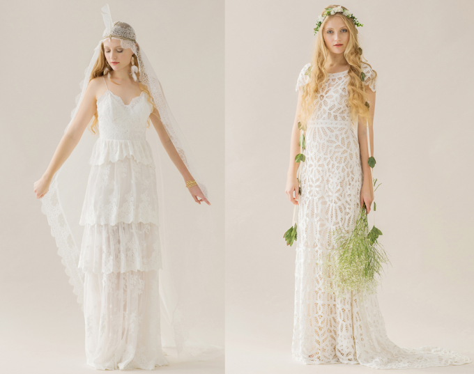 Rue de Seine 2014 'Young Love' Collection bohemain wedding dress lace flowers feathers - glitterinc.com