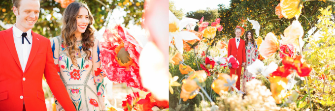 Temperly of London Floral Flower Bright Dress Red Suit Bride Paper Flowers - dress of the week