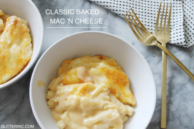 mac 'n cheese - Classic Baked Macaroni and Cheese in a Bechamel Sauce Recipe - glitterinc.com