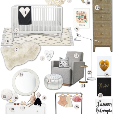 Baby Girl's Nursery: Paris Chic Style Board