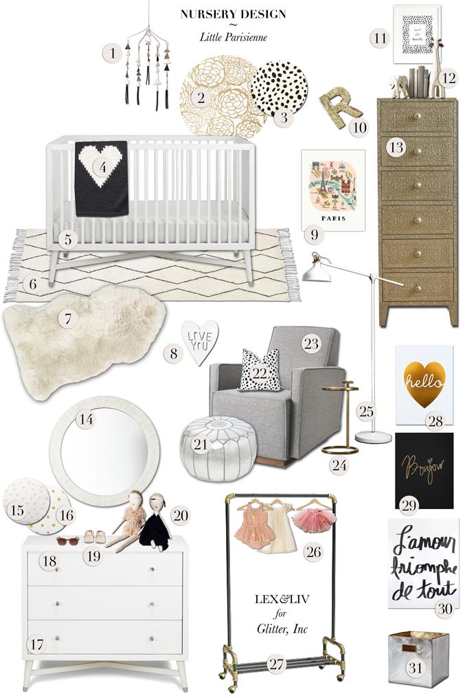 chic paris parisienne baby girl nursery styleboard_glitterinc.com