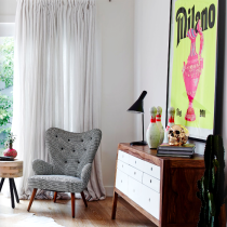 interiors - checkered chair cowhide living room - lucy fenton - adore magazine