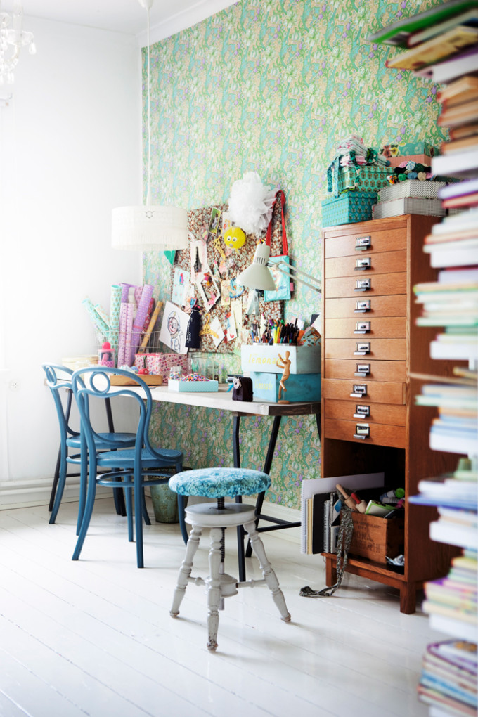light bright Sweden home via Elle Decoration - craft room