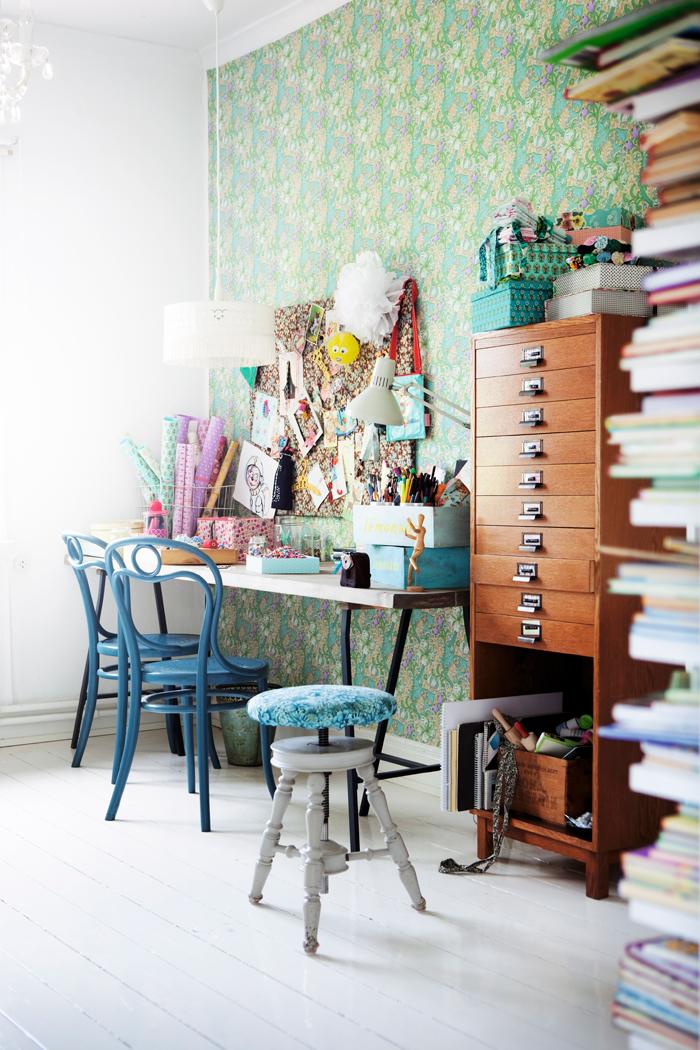 light bright Sweden home via Elle Decoration - craft room