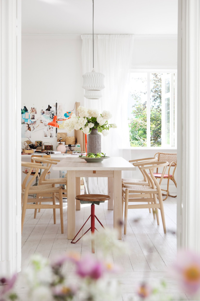 light bright Sweden home via Elle Decoration - dining room
