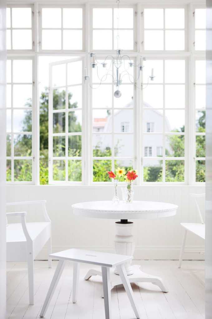 light bright Sweden home via Elle Decoration - white veranda