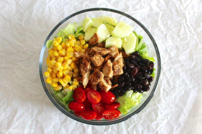 Ingredients - Southwest Summer Salad With Spicy Chicken + Low-Fat BBQ Ranch Greek Yogurt Dressing RECIPE 8 - glitterinc.com