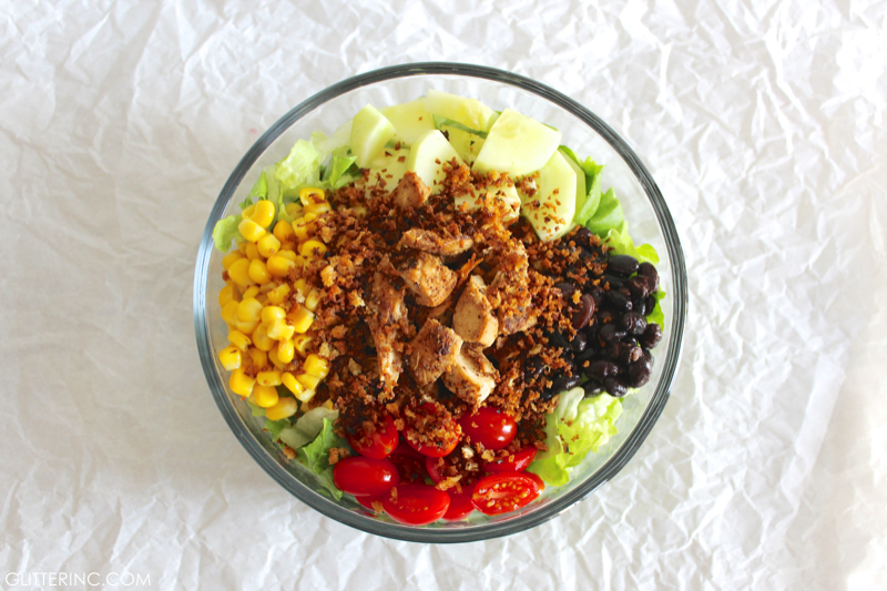 Ingredients - Southwest Summer Salad With Spicy Chicken + Low-Fat BBQ Ranch Greek Yogurt Dressing RECIPE 9 - glitterinc.com