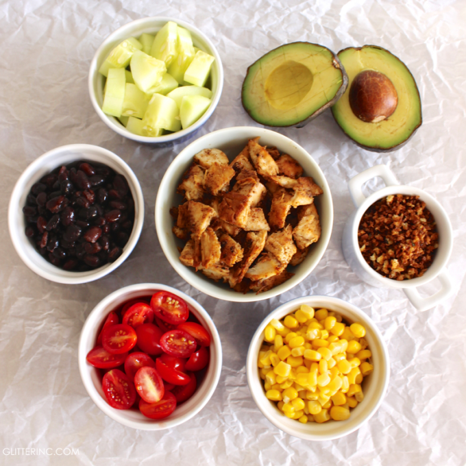 Ingredients - Southwest Summer Salad With Spicy Chicken + Low-Fat BBQ Ranch Greek Yogurt Dressing RECIPE - glitterinc.com