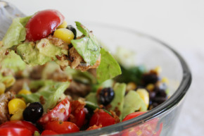 Southwest Summer Salad With Spicy Chicken + Low-Fat BBQ Ranch Greek Yogurt Dressing recipe final 2 - glitterinc.com