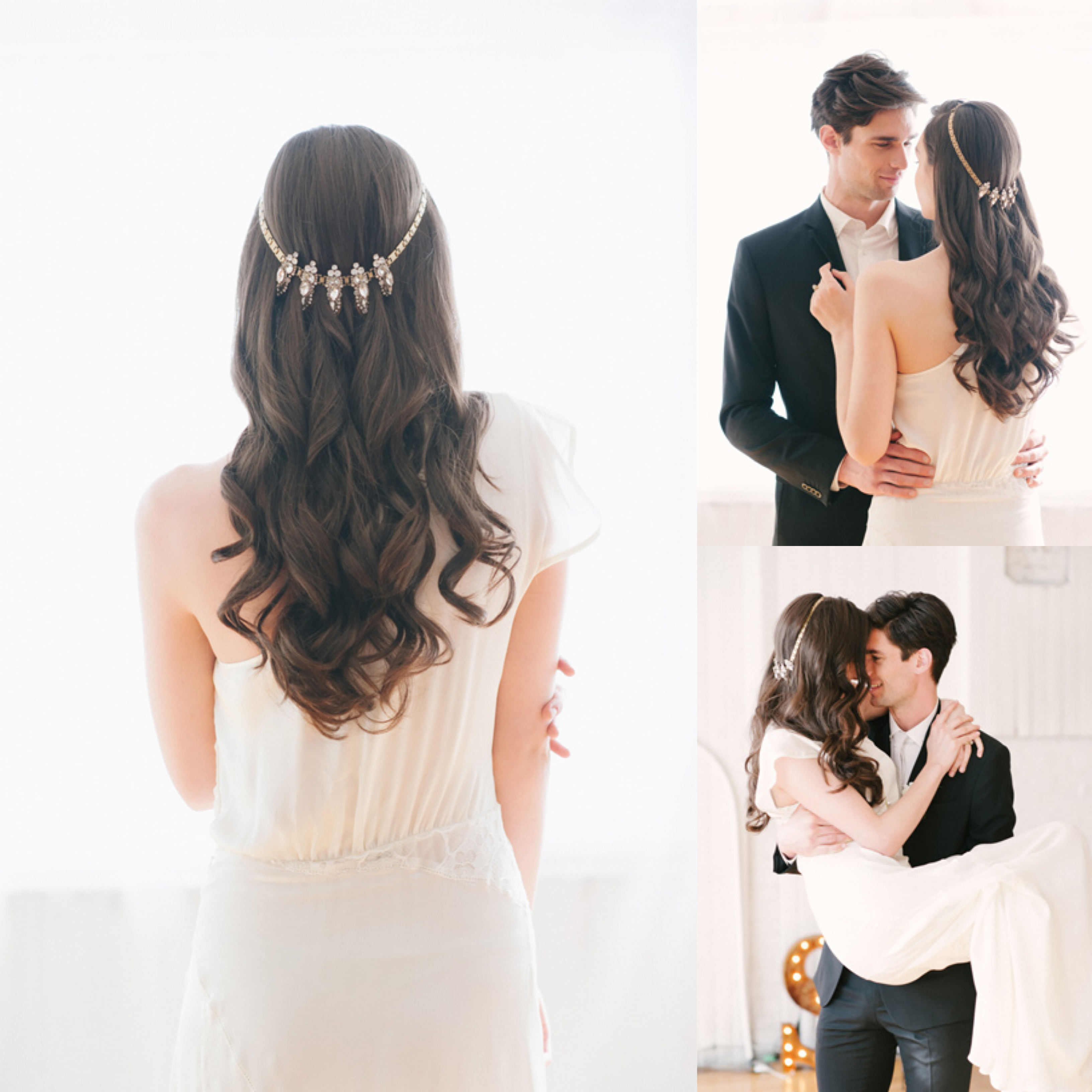 wedding hair style necklace jewels crown