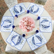 Tory Burch Tabletop dishes _ Spongeware - blue and white