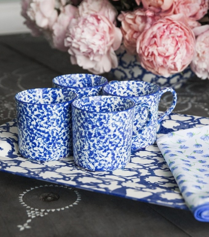 Tory Burch Tabletop dishes _ Spongeware - blue and white mugs
