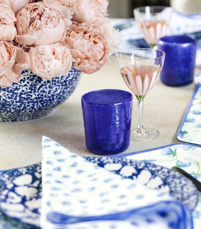 Tory Burch Tabletop dishes _ Spongeware - blue and white table design