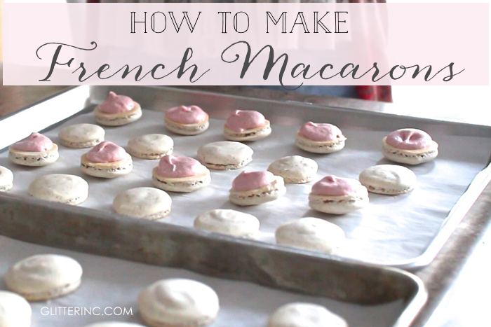 How to make homemade French macarons, plus a delicious recipe for strawberry cheesecake french macaroons, with a video. #macarons #howtomakemacarons #recipe #strawberrymacarons | glitterinc.com | @glitterinc