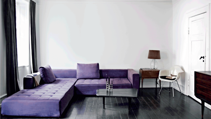 Danish Home Black White - purple sofa sectional