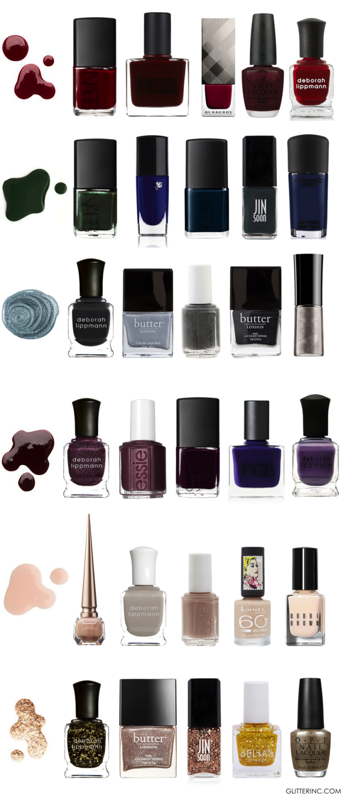 Fall Winter Nail Polish Guide - nails - colors - glitterinc.com