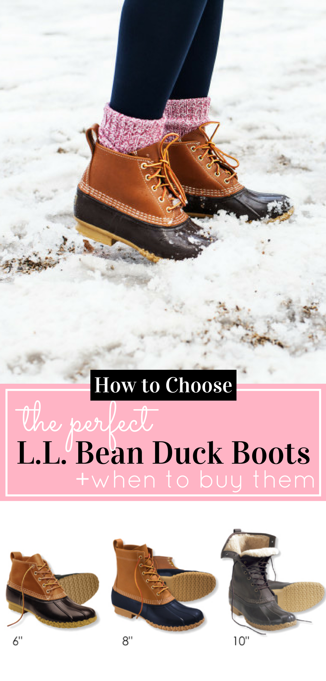 Looking for the perfect pair of L.L. Bean duck boots? I'm sharing how to choose classic bean boots, a.k.a., duck boots, and when to buy them to catch the biggest selection of boots before they sell out! #duckboots #beanboots #snowboots #winterboots #rainboots | glitterinc.com | @glitterinc