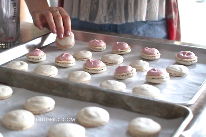 How to make homemade French macarons, plus a delicious recipe for strawberry cheesecake french macaroons, with a video. | glitterinc.com | @glitterinc