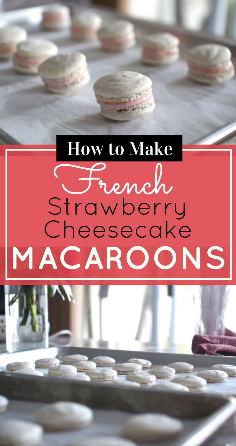 How to make homemade French macarons, plus a delicious recipe for strawberry cheesecake french macaroons, with a super helpful video tutorial. #macarons #howtomakemacarons #recipe #strawberrymacarons | glitterinc.com | @glitterinc