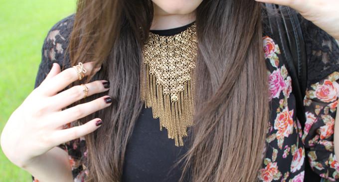Sears-Style-Fall-Transition-Flower-Kimono-black-dress-Gold-Statement-Necklace---glitterinc.com