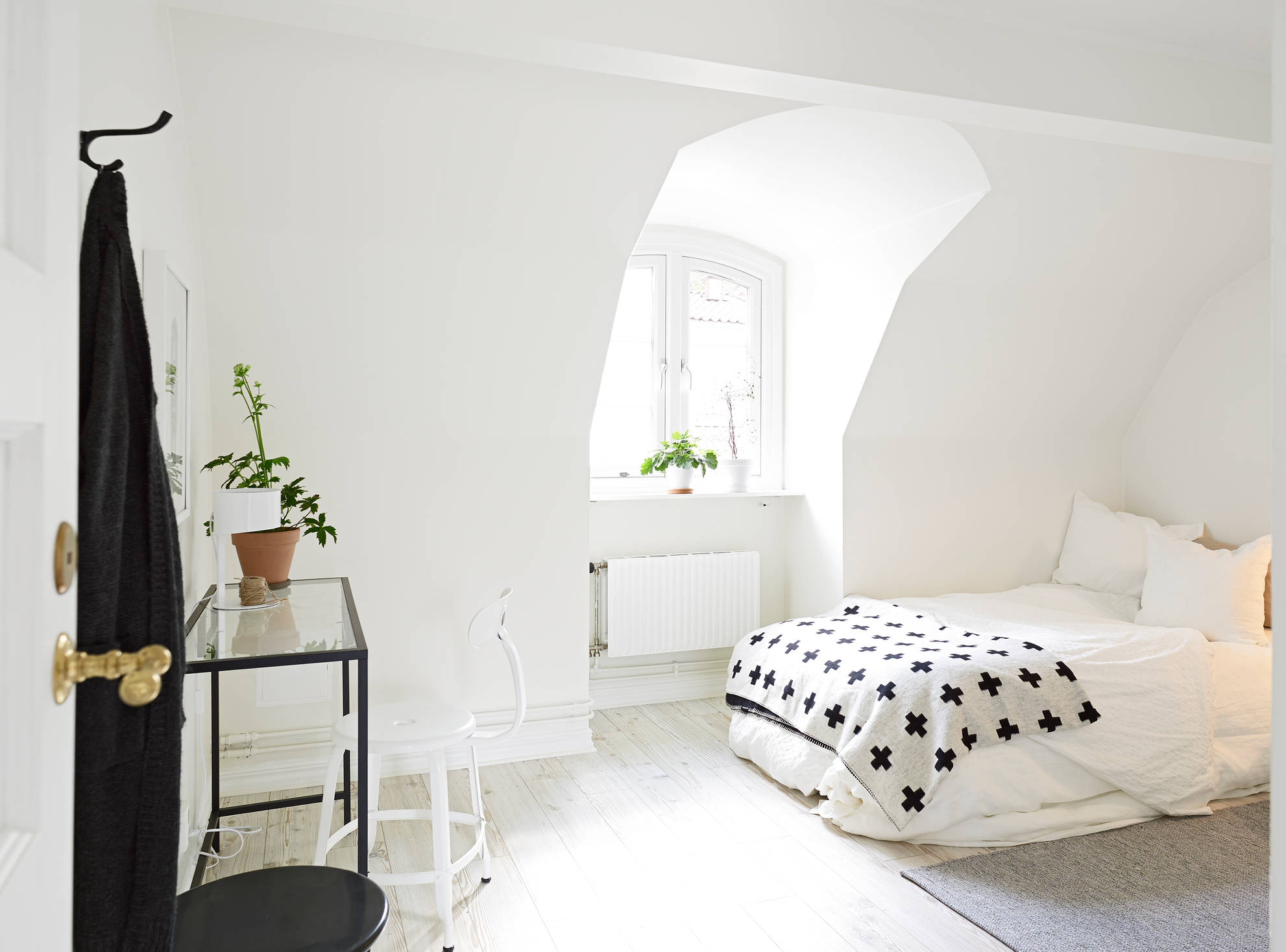 white apartment greens bedroom black